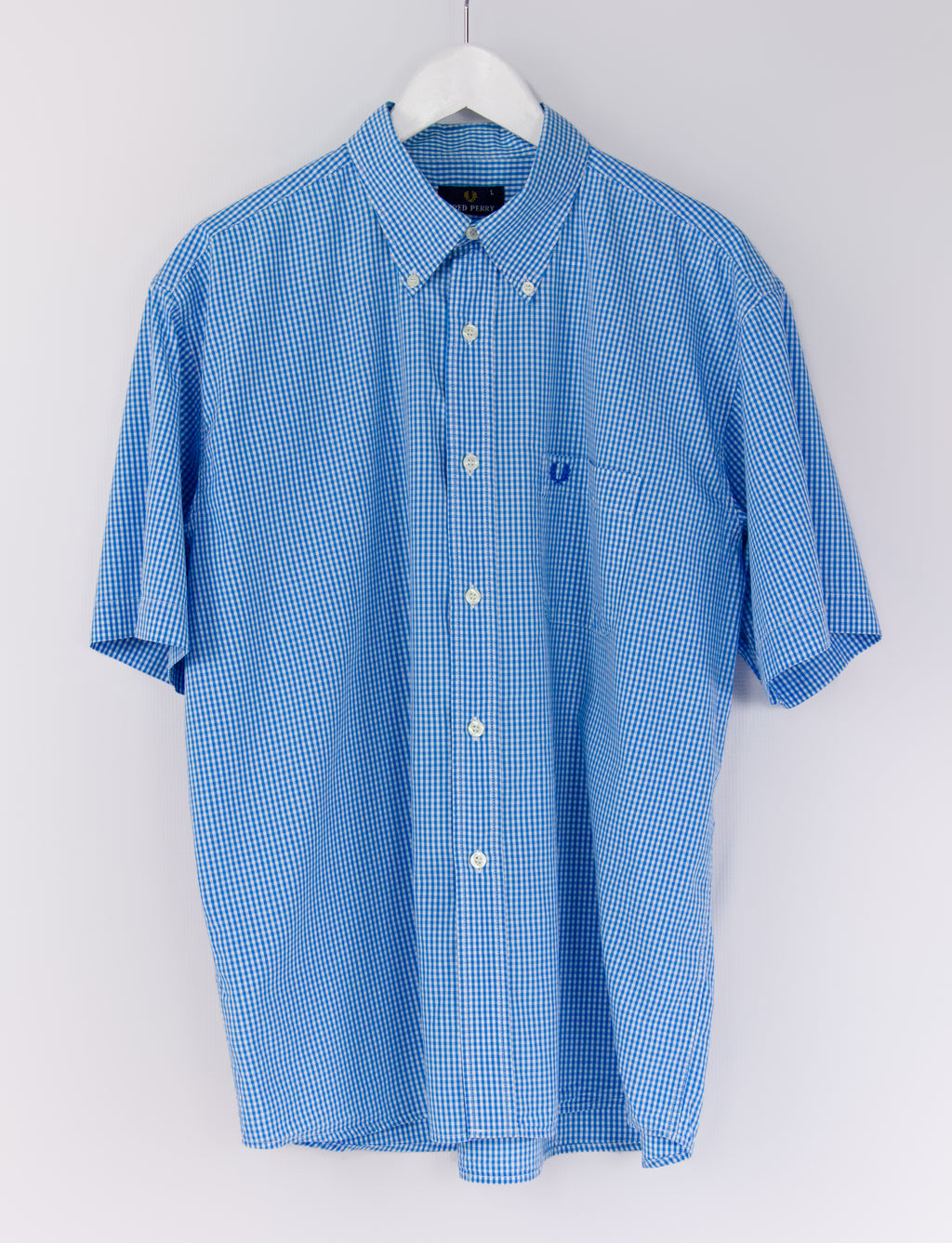 FRED PERRY 100% Cotton Blue Gingham Check Summer Shirt, SIZE L - secondfirst