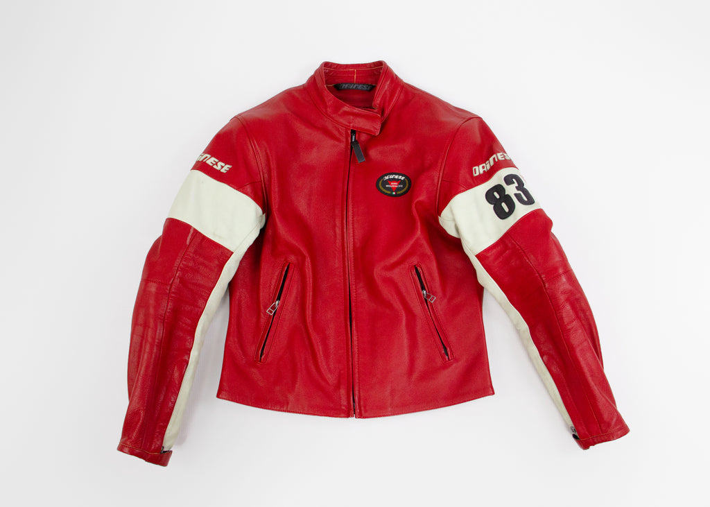 DAINESE 36060 Molvena Red Leather Motorcycle Biker Jacket, SIZE XS - secondfirst