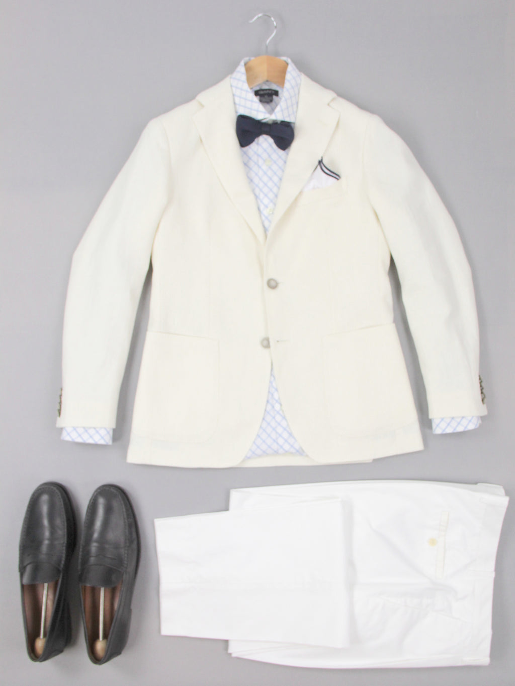 Tagliatore Cream White Linen Blend 2 Button Sport Coat Blazer US 34R, EU 44R