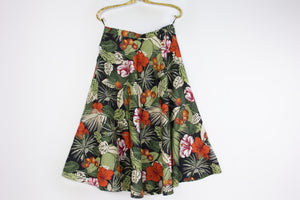 Vintage Hawaiian Flower Print A-line Midi Skirt, SIZE M - secondfirst