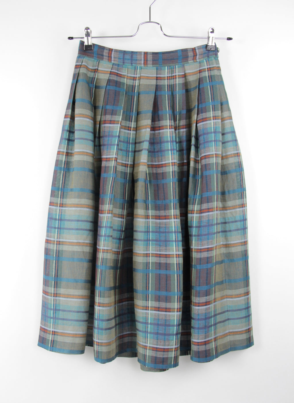 Max Mara Pure Linen Plaid Pleated Summer Midi Skirt, Size M