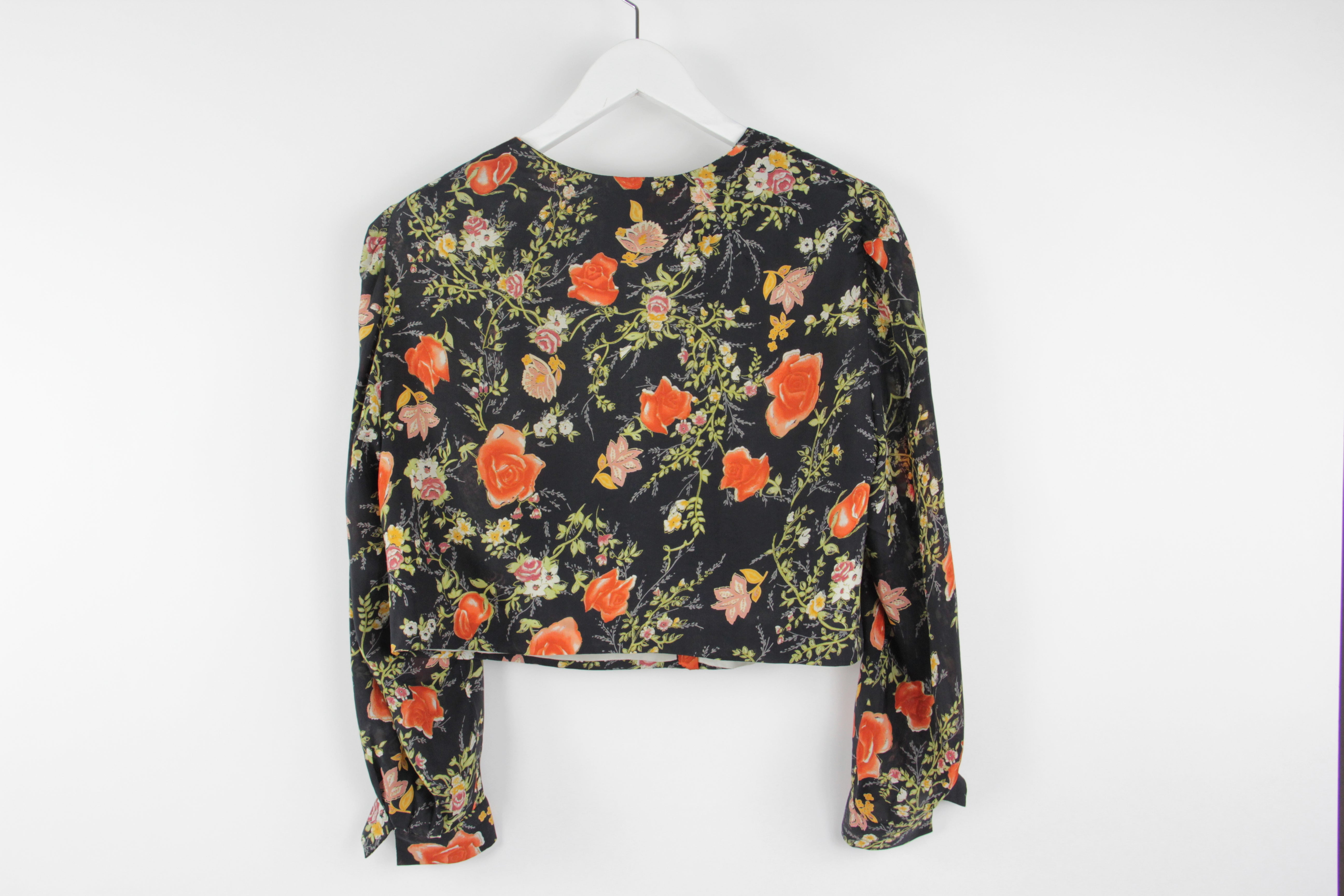 Floral Silk Puff Sleeve Crop Jacket With Pearl Shell Buttons