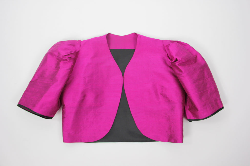 Fancy Silk Fuchsia Puff Shoulder Sleeve Cropped Jacket