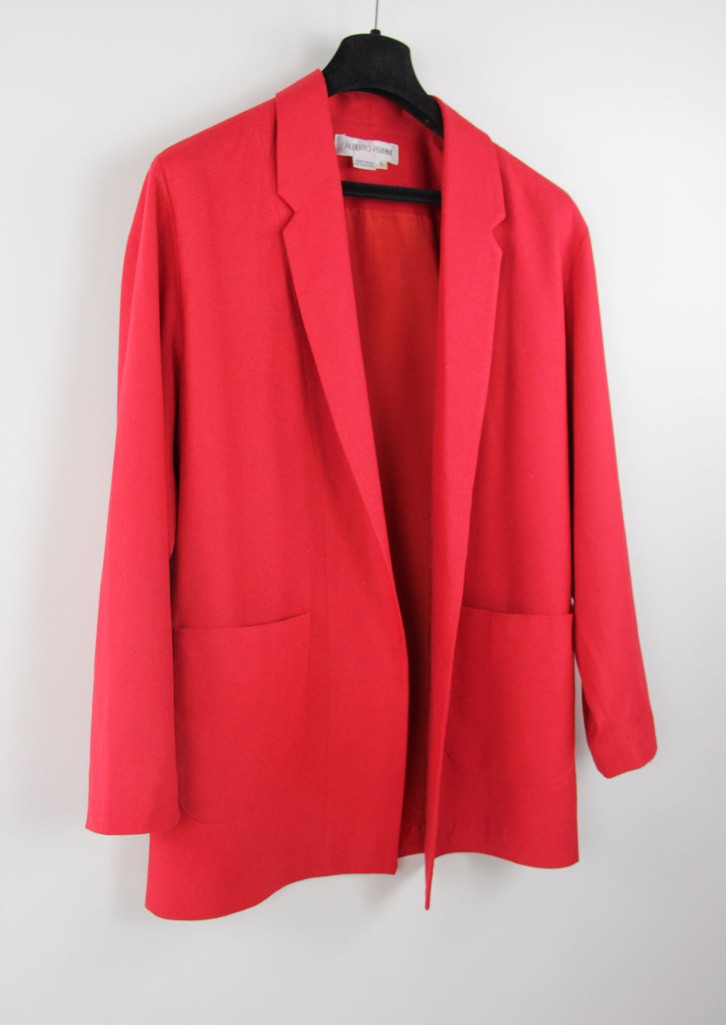 Vintage Pure Silk Red Women's Oversized Blazer, SIZE S