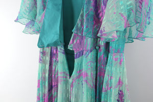 Vintage 70's Silk Abstract Watercolor Print Maxi Dress, Size M