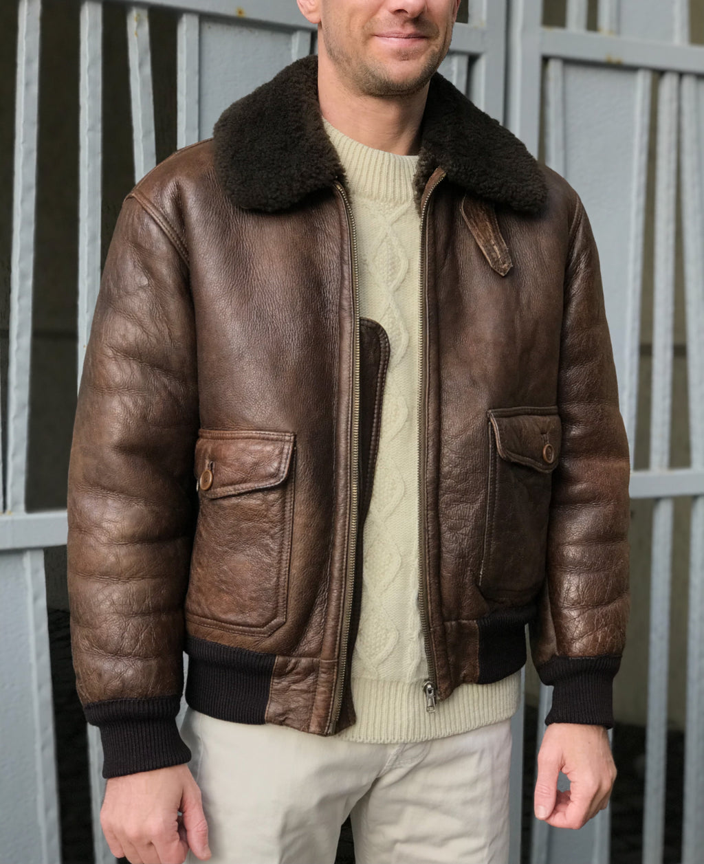 Men's Type A-2 Aviator Bomber Brown Shearling Jacket, USA 40, EU 50