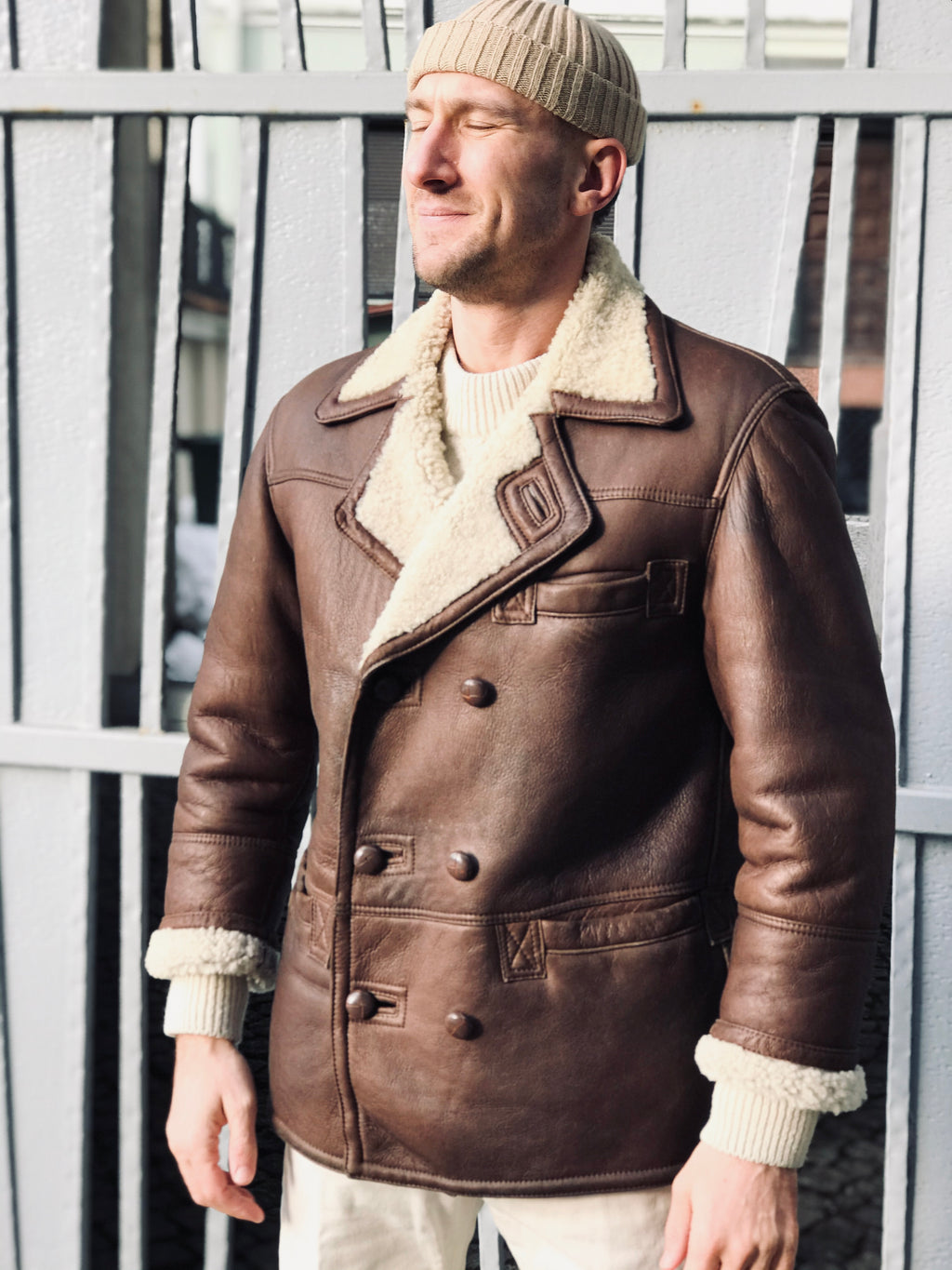 Dark Brown Double Breasted Sheepskin Shearling Jacket, S