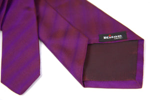 Kiton Napoli Magenta Purple Shiny Striped Woven Silk Tie - secondfirst