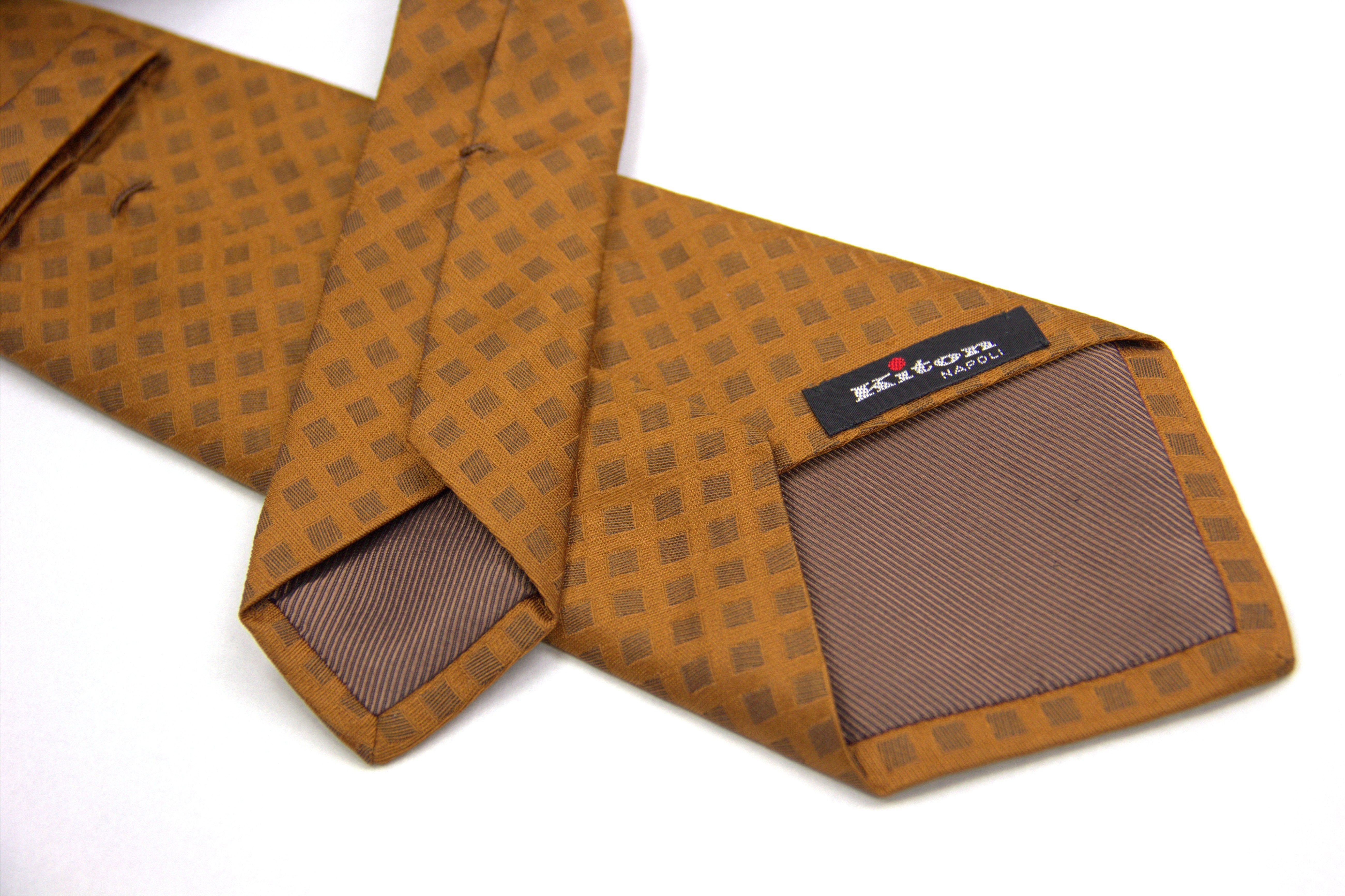 Kiton Napoli Rust Brown Woven Silk Tie - secondfirst