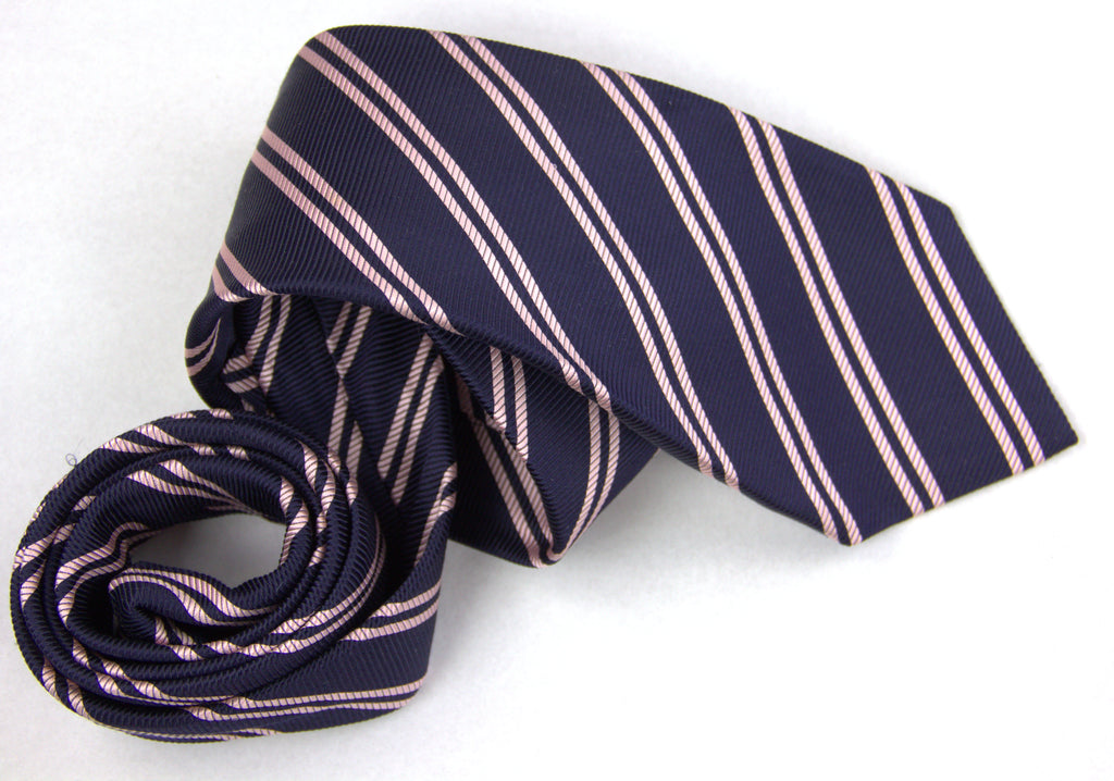 Luigi Borelli Napoli Navy & Pink Striped Woven Silk Tie - secondfirst