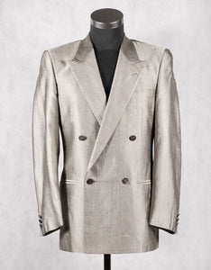 Yves Saint Laurent YSL Grey Peaked Lapels Double Breasted Silk Blazer Jacket, US 38R, EU 48R