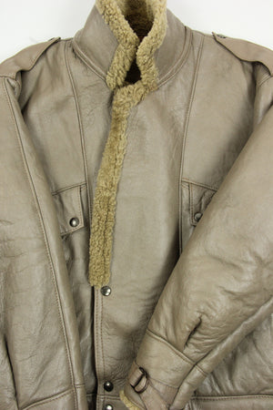 Taupe Double Breasted Shearling Jacket, SIZE L - second_first
