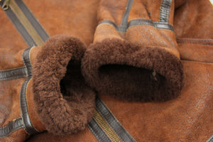 Aviator Type-B Style Rust Brown Shearling Jacket, M - second_first
