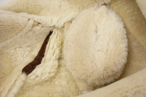 Camel Brown Chunky Shearling Supple Suede Coat, SIZE 38