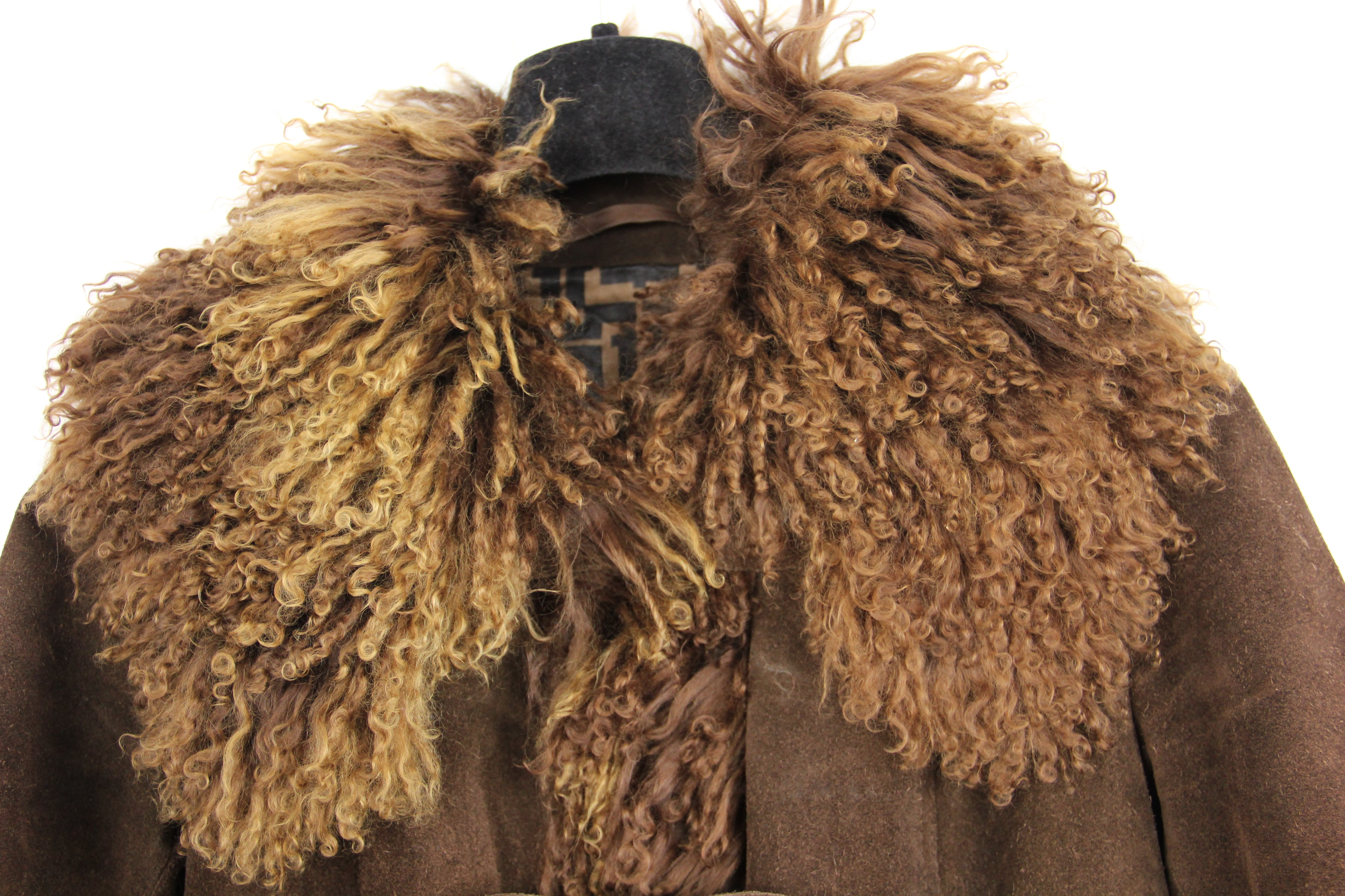 Friitala Suede Coat with Curly Goat Hair Collar and Trims, SIZE S