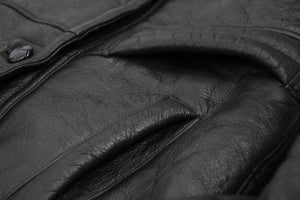 Black Leather Shawl Collar Lambskin Shearling Jacket, SIZE S