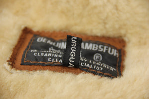 Brown Leather Men's Shawl Collar Lambsfur Shearling Coat, SIZE M