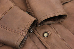 Mahogany Brown Leather Shawl Collar Lambskin Shearling Coat