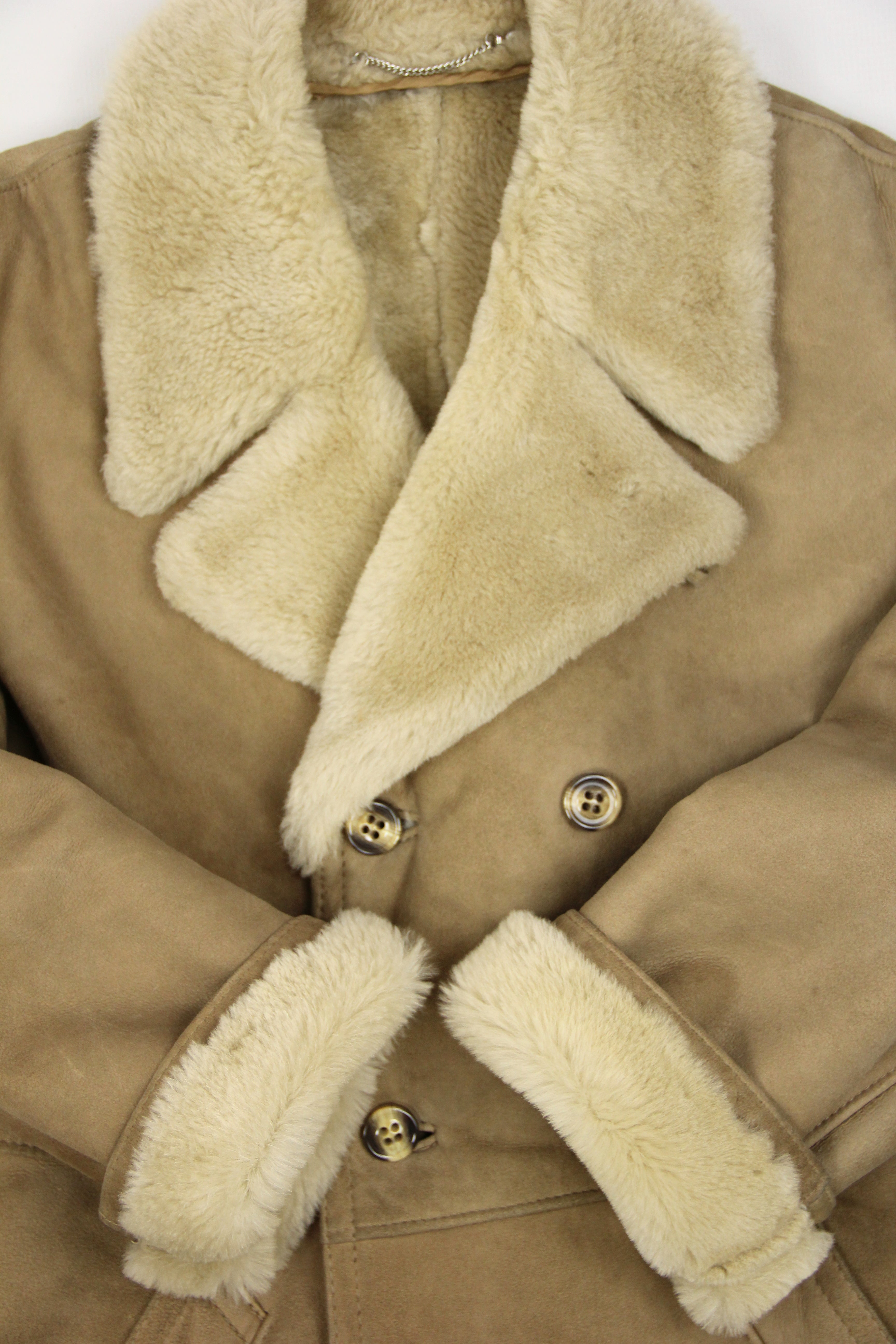 Men's Light Brown Double Breasted Soft Shearling Coat, SIZE XL, 44