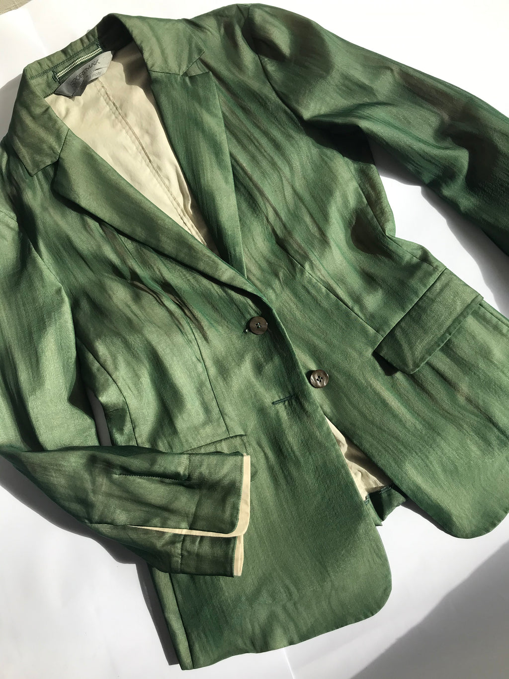 Sportmax Green Silk Chiffon Unstructured Layered Blazer, SIZE XS