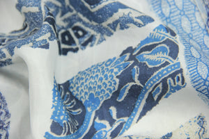 Vintage 100% Silk Men's Short Sleeve Azulejos Print Shirt, SIZE XL