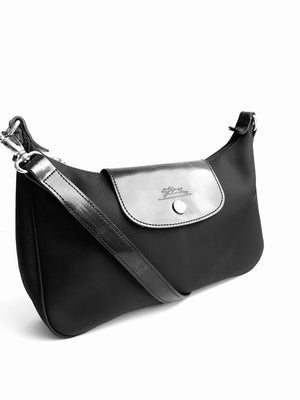 Longchamp Black Satin and Leather Baguette Shoulder Bag