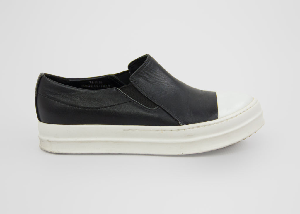 RICK OWENS Slip On Black Leather Platform Sneakers SIZE USA 7 1/2 - secondfirst