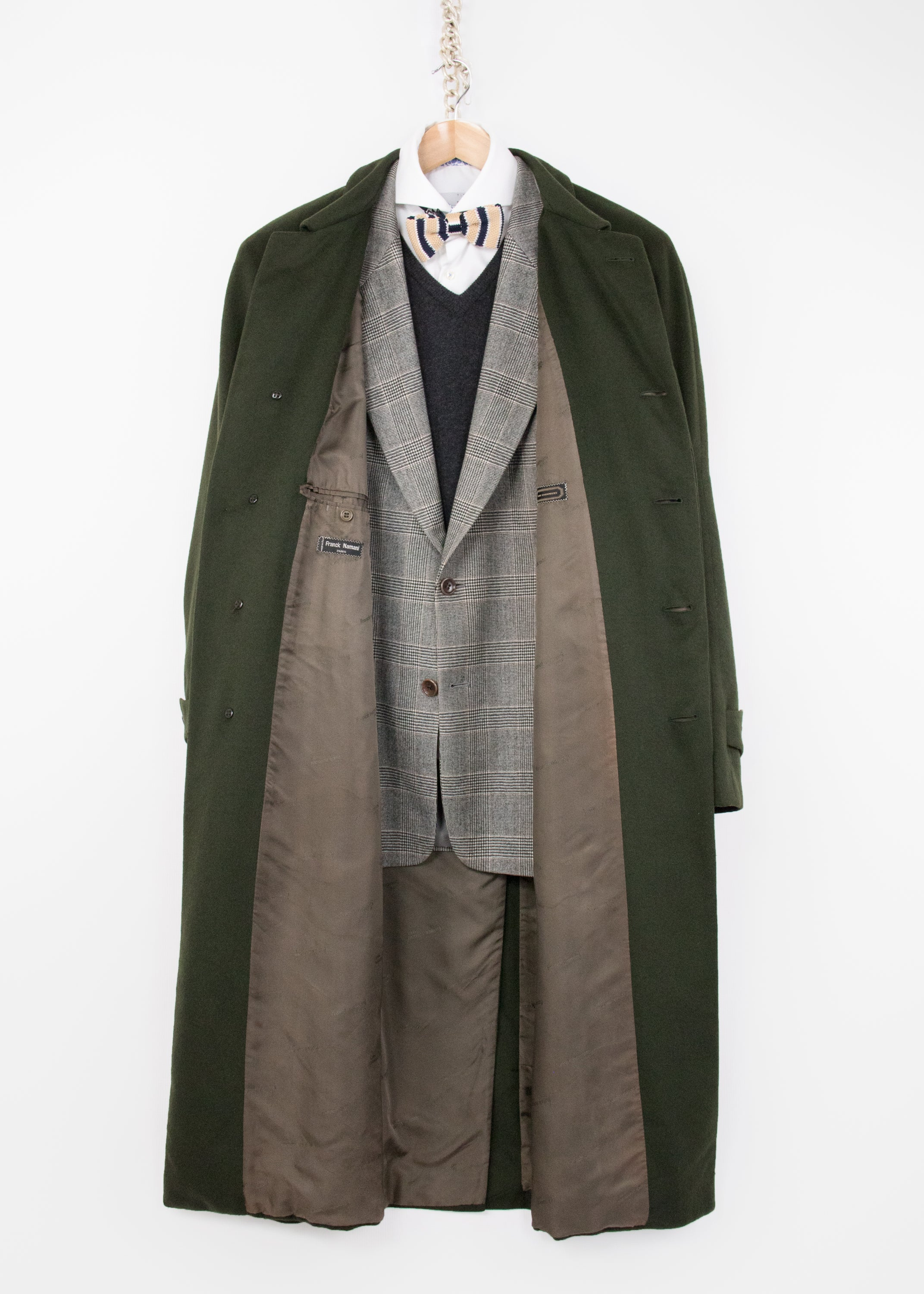 Franck Namani Paris Pure Cashmere Green Long Overcoat, SIZE EU 54, USA 44 R - secondfirst