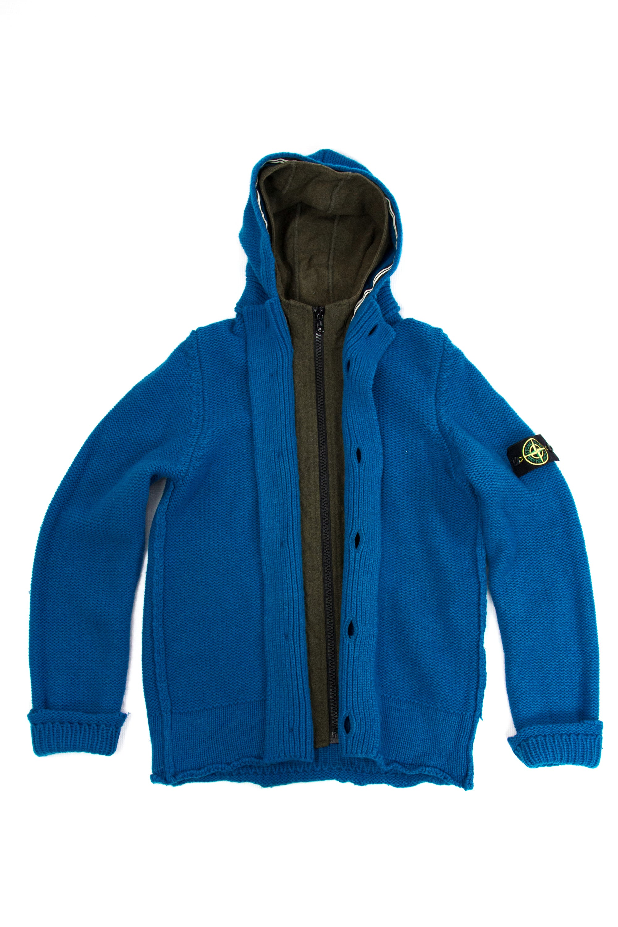 STONE ISLAND Chunky Wool Hooded Cardigan, M - secondfirst