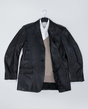 GIANFRANCO FERRE Soft Genuine Leather Blazer Jacket/Sport Coat USA 42, EU 52 - secondfirst