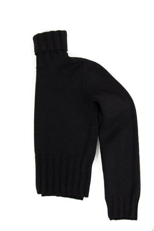 DOLCE & GABBANA 100% Wool Black Turtle Neck Jumper SIZE XS - secondfirst