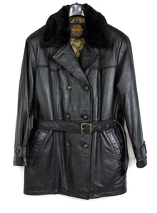 PETROFF Padded Leather Belted Coat with Faux Fur Collar, SIZE XL - secondfirst