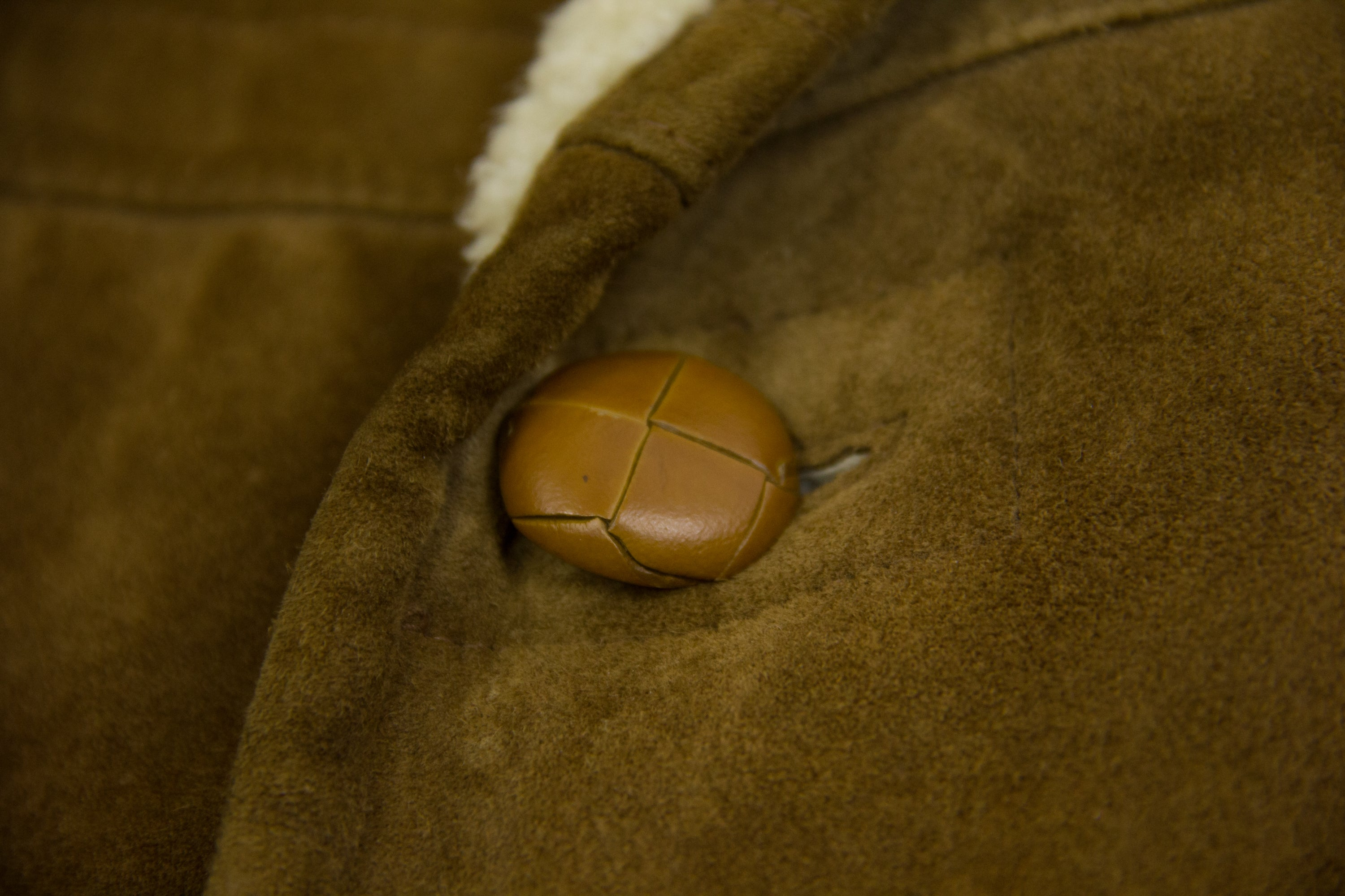 Shearling Lined Double Breasted Suede Leather Coat Jacket, US40/ EU50 - secondfirst