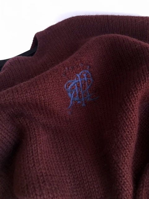 RALPH LAUREN Deep Burgundy Wool Sweater, SIZE XL