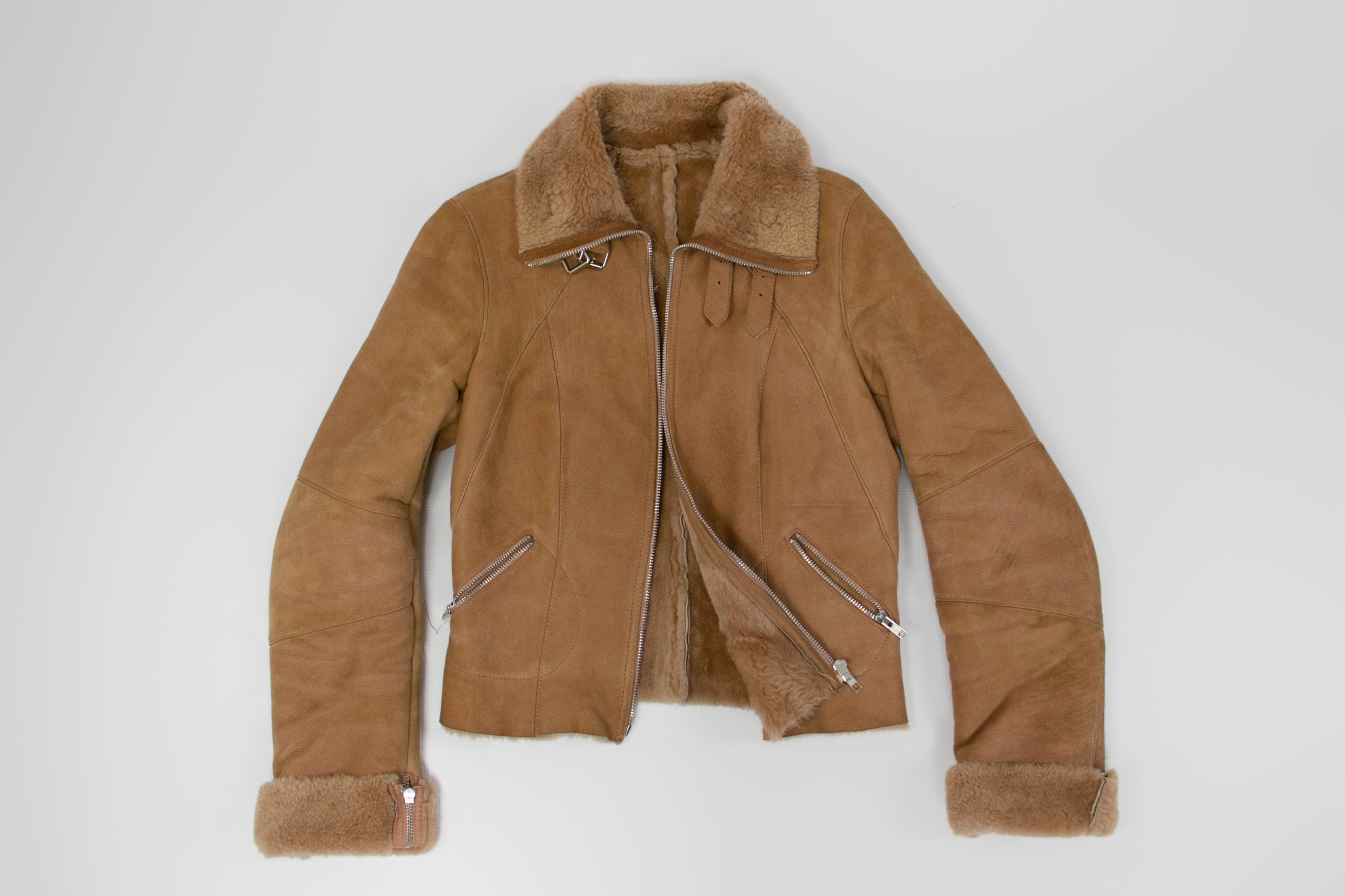 Tony Enzo Paris Ash Pink Shearling Rider Jacket, SIZE XS - second_first