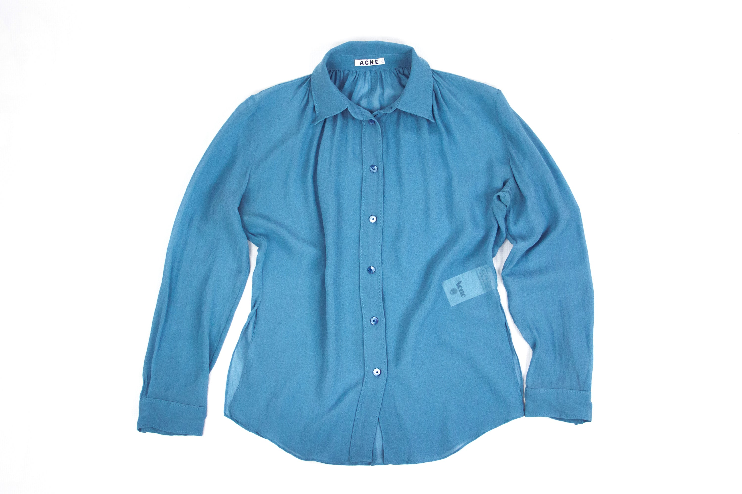 ACNE Teal Blue Adeline Silk Blouse, SIZE 36 - secondfirst
