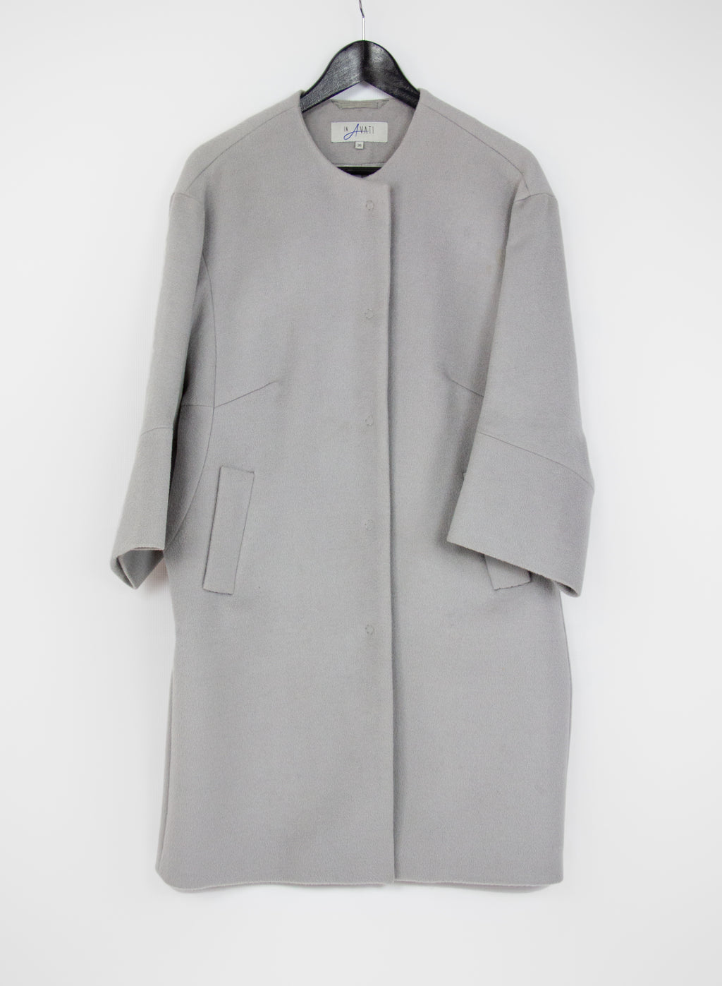 In Avati Cocoon Shape Brushed Wool Coat, SIZE S - second_first