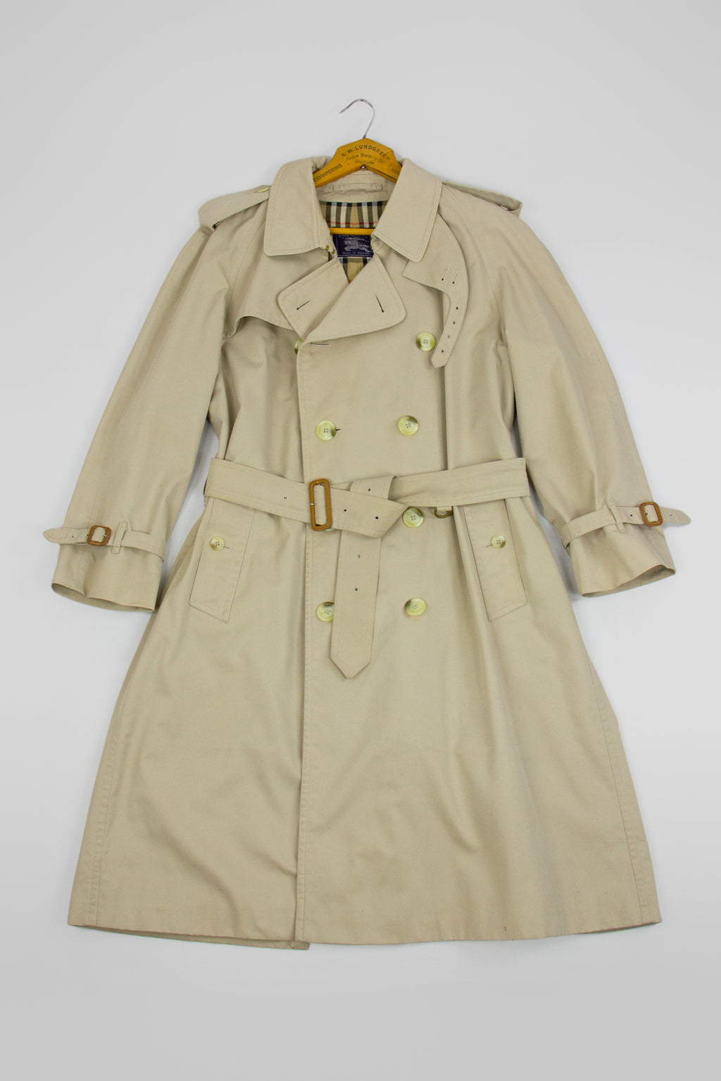 Burberry Vintage Men's Khaki Brown Trench Coat Size 38S - secondfirst