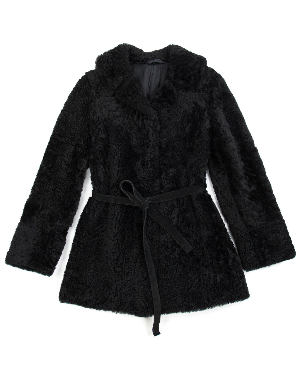 Black Shearling Coat With Tie Waist Belt, SIZE S - second_first