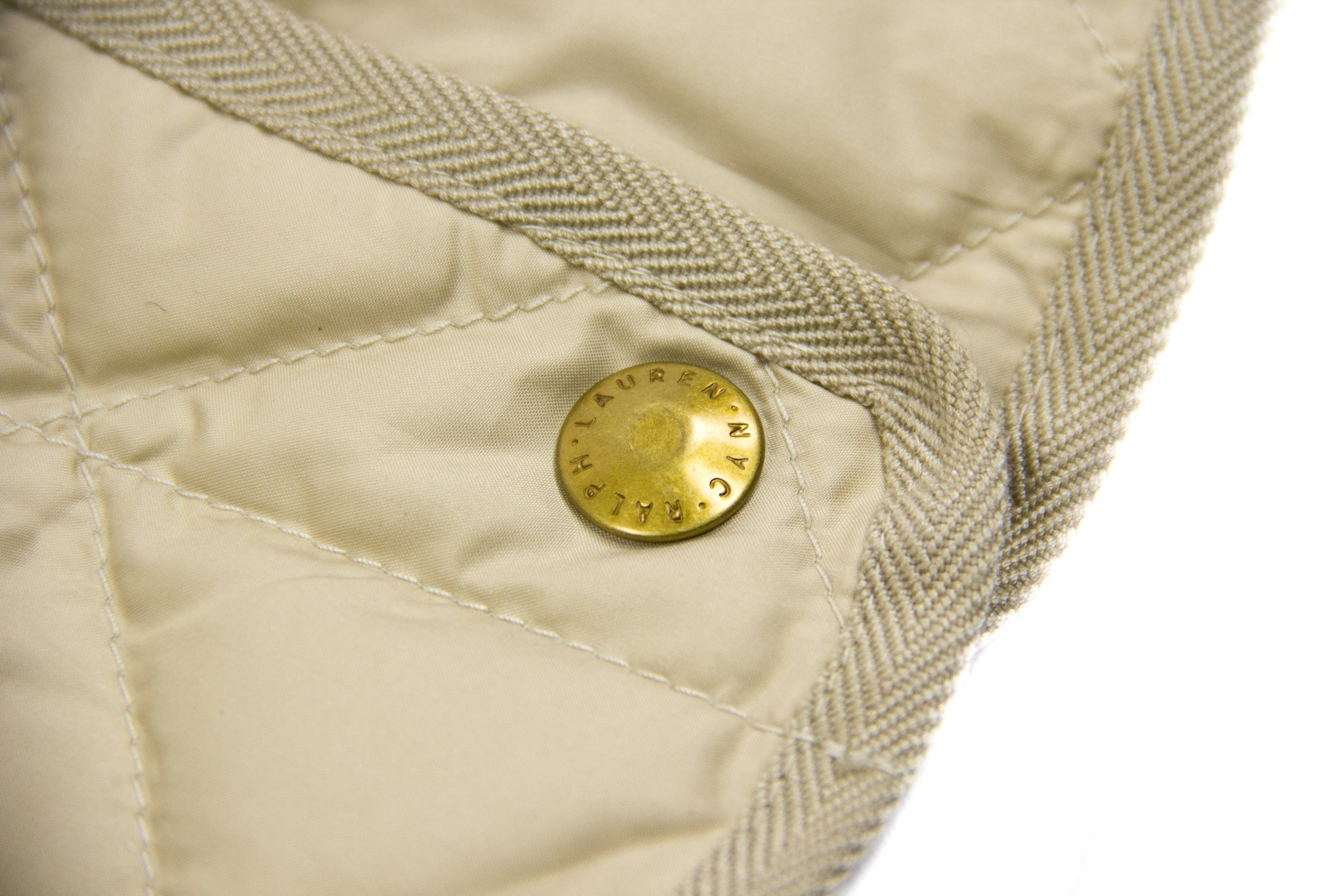 RALPH LAUREN Down Insulated Beige Classic Quilted Jacket, SIZE L - secondfirst