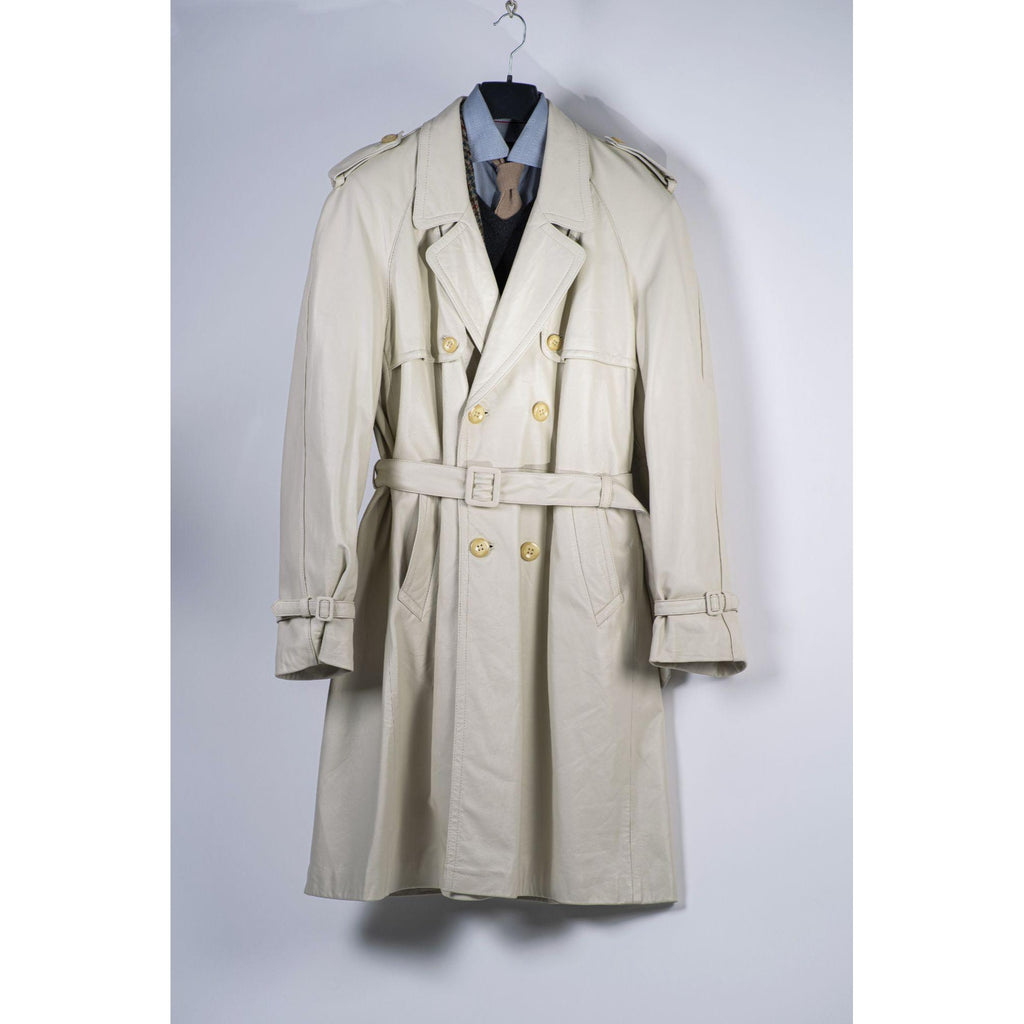 Men's Double Breasted Soft Leather Ivory Trench Coat, USA 42, EU 52