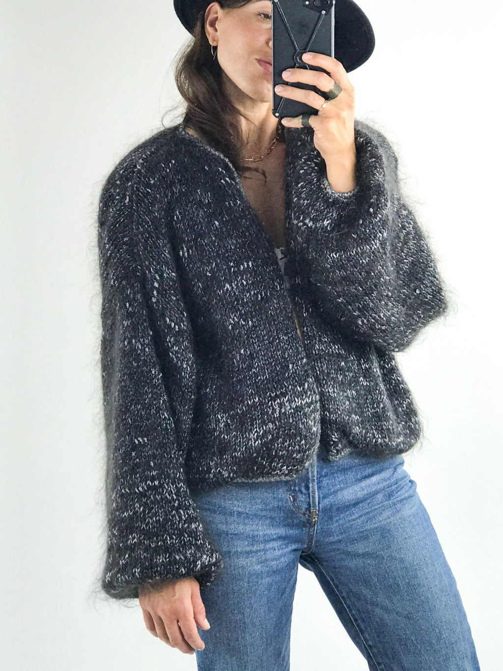 Women's Oversized Slouchy Open Front Wool Cardigan