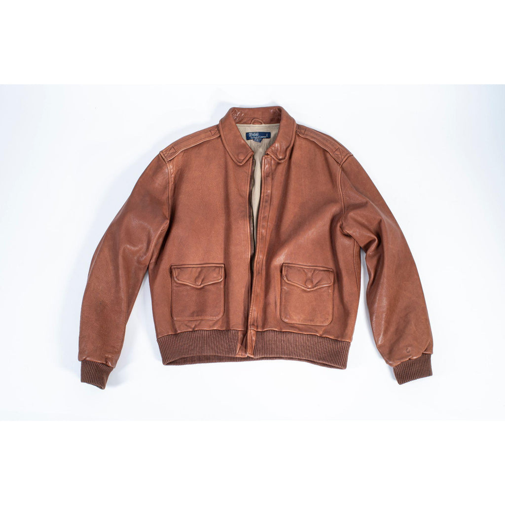 Ralph Lauren Brown Type A2 Leather Aviator Bomber Jacket, L