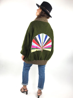Women's Oversized Chunky Wool Cardigan with Peacock Embellishment