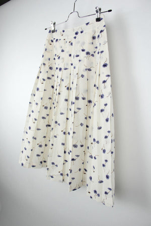 Vintage Linen Blend Floral Pleated Midi Skirt, EU 36, US 6