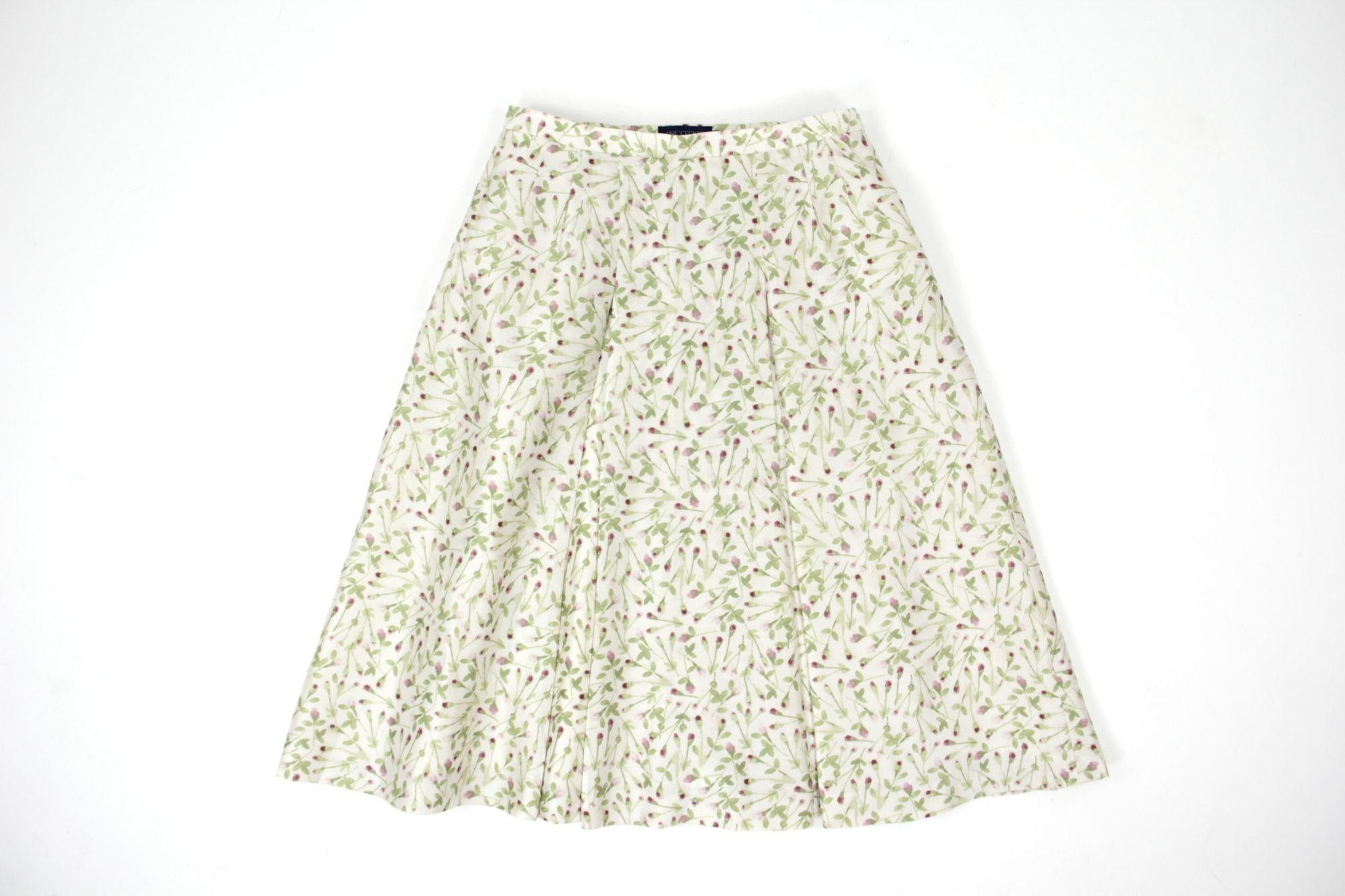 Incotex Silk Wool Carnation Flower Print Pleated A Line Skirt, IT 44, EU 38, US 8
