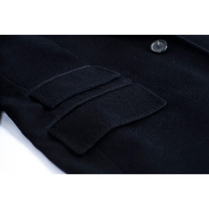 Cacharel Men's Navy Blue Brushed Wool – Cashmere Blend Coat, SIZE USA 42, EU 52