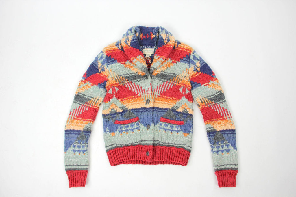 Ralph Lauren Aztec Print Rugged Thick Cotton Linen Cardigan