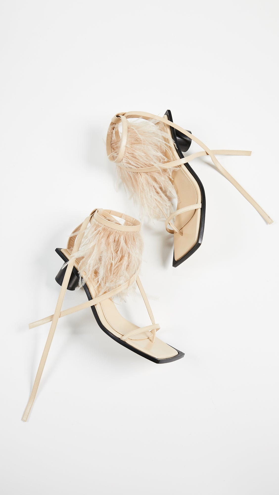 Helmut Lang Gladiator Feather Mid Heel Sandals, Size 39, US 9 - secondfirst