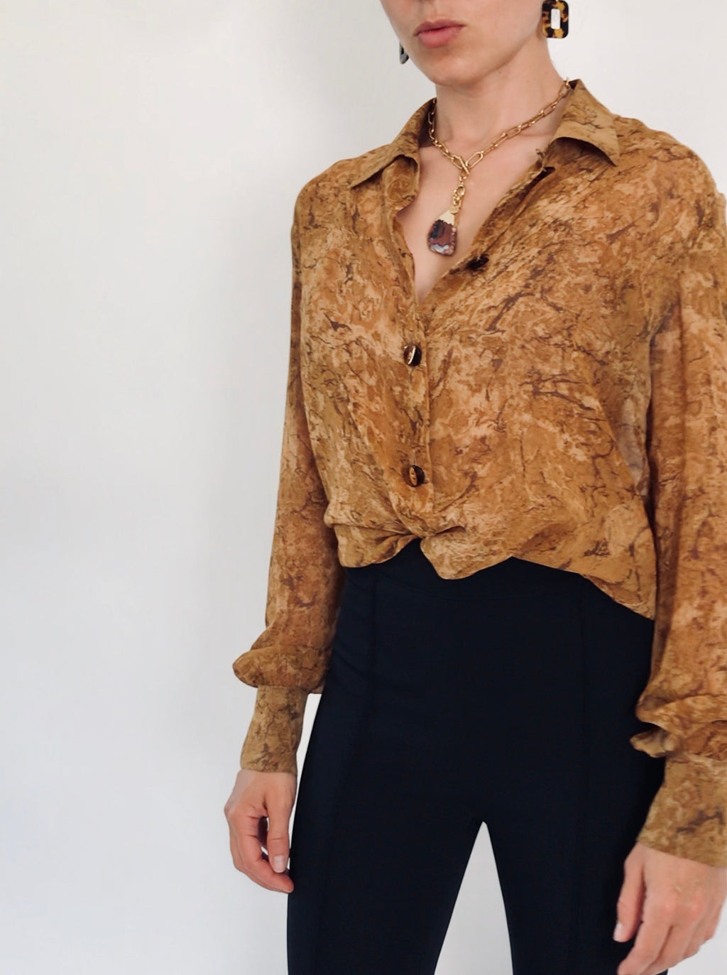Valentino Miss V Brown Marble Silk Blouse, Size S